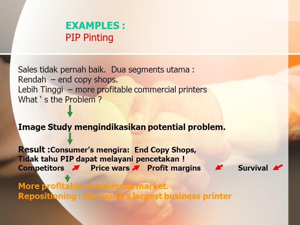 EXAMPLES : PIP Pinting Sales tidak pernah baik. Dua segments utama :