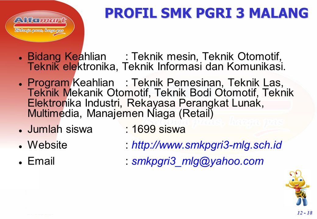 PROFIL SMK PGRI 3 MALANG Bidang Keahlian : Teknik mesin, Teknik Otomotif, Teknik elektronika, Teknik Informasi dan Komunikasi.