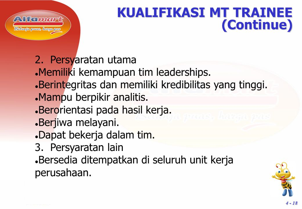 KUALIFIKASI MT TRAINEE (Continue)‏