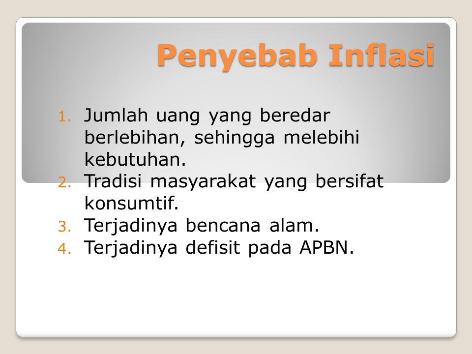 Penyebab Inflasi Jumlah uang yang beredar berlebihan, sehingga melebihi kebutuhan. Tradisi masyarakat yang bersifat konsumtif.