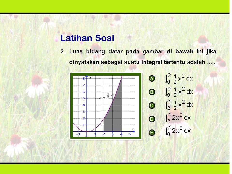 Latihan Soal 2. Luas bidang datar pada gambar di bawah ini jika dinyatakan sebagai suatu integral tertentu adalah ... .
