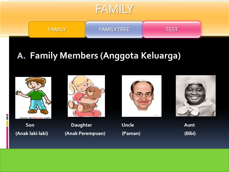 FAMILY Family Members (Anggota Keluarga) FAMILY FAMILYTREE TEST