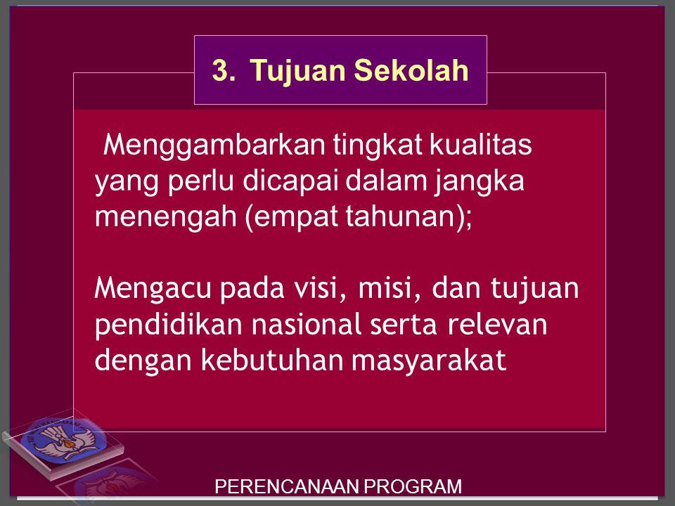 3. Tujuan Sekolah Menggambarkan tingkat kualitas yang perlu dicapai dalam jangka menengah (empat tahunan);