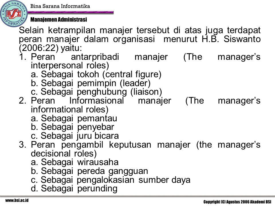 Selain ketrampilan manajer tersebut di atas juga terdapat peran manajer dalam organisasi menurut H.B. Siswanto (2006:22) yaitu: