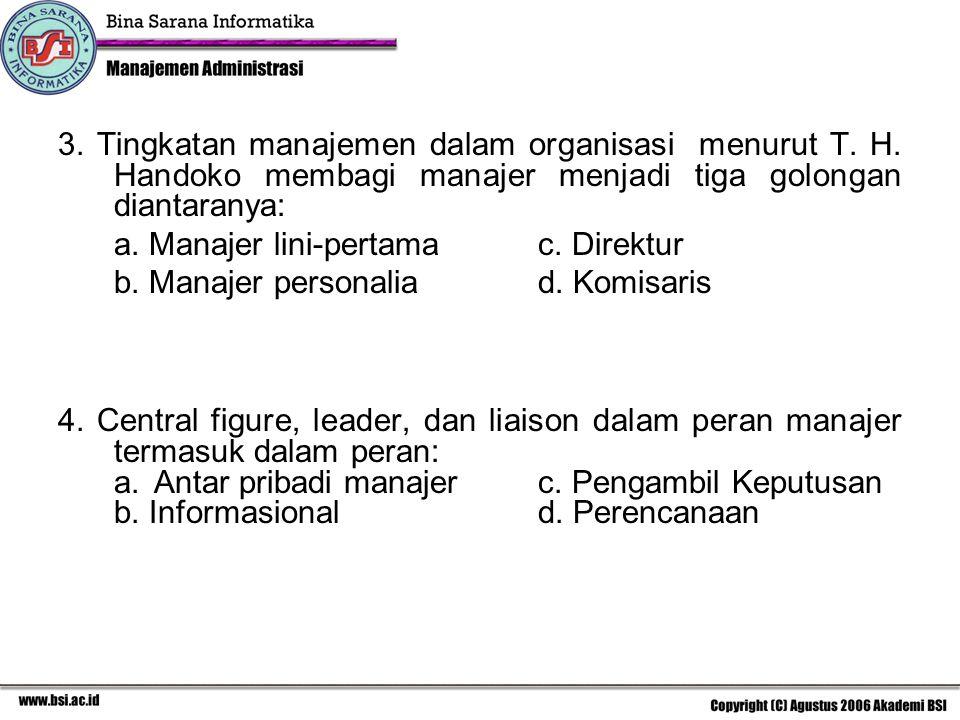 3. Tingkatan manajemen dalam organisasi menurut T. H