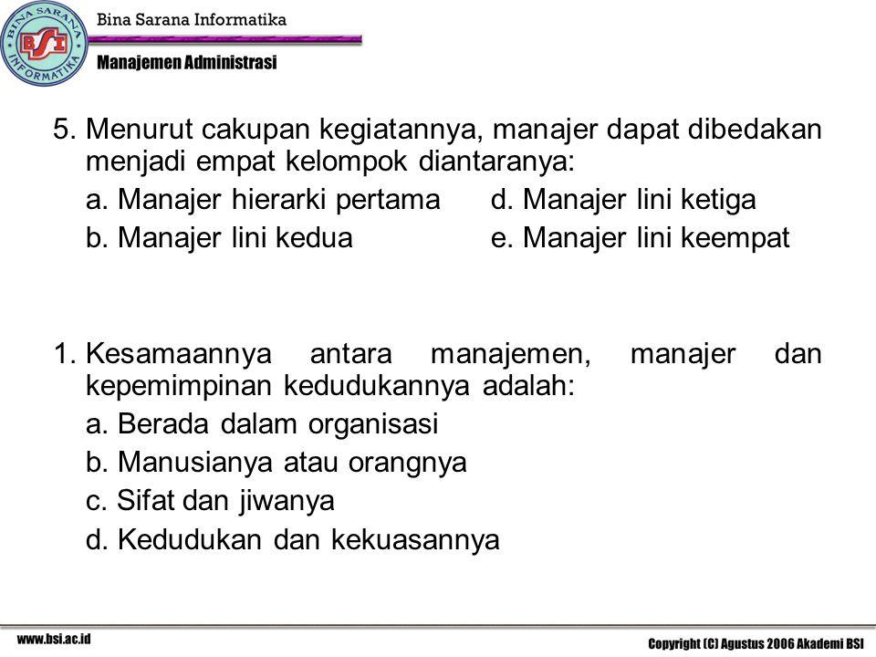 5. Menurut cakupan kegiatannya, manajer dapat dibedakan menjadi empat kelompok diantaranya: