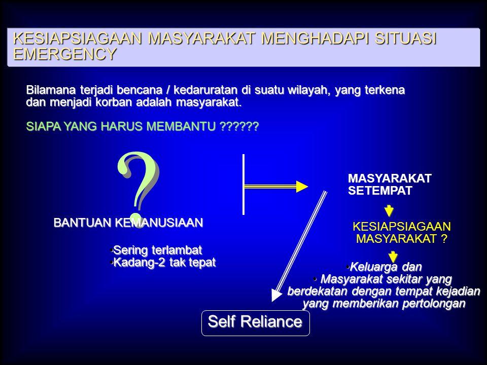 KESIAPSIAGAAN MASYARAKAT MENGHADAPI SITUASI EMERGENCY Self Reliance