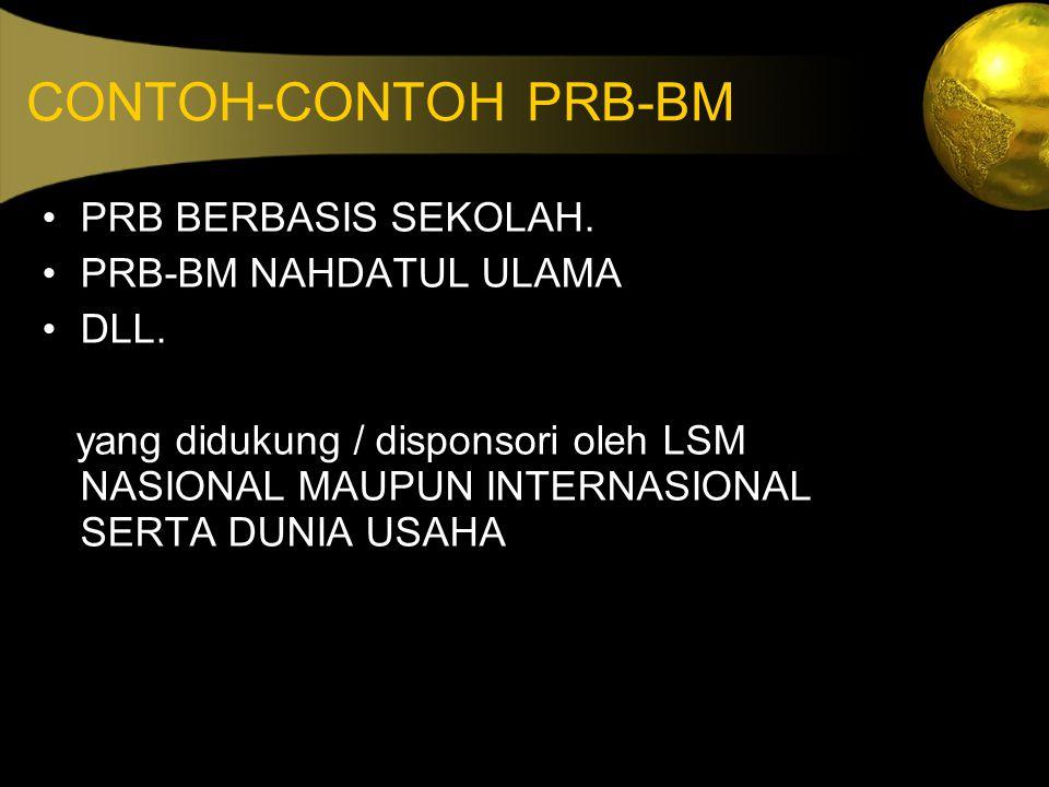 CONTOH-CONTOH PRB-BM PRB BERBASIS SEKOLAH. PRB-BM NAHDATUL ULAMA DLL.