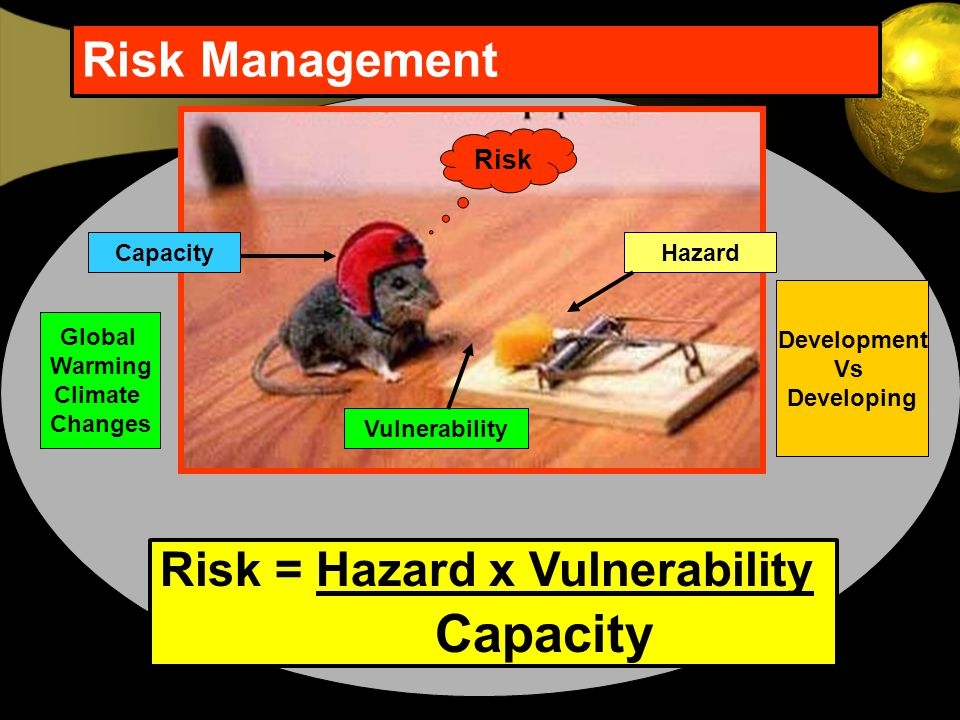 Risk Management Risk = Hazard x Vulnerability Capacity Risk Capacity