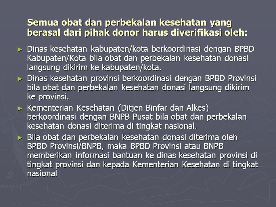 Semua obat dan perbekalan kesehatan yang berasal dari pihak donor harus diverifikasi oleh: