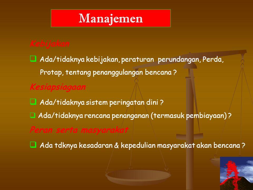 Manajemen Kebijakan. Ada/tidaknya kebijakan, peraturan perundangan, Perda, Protap, tentang penanggulangan bencana