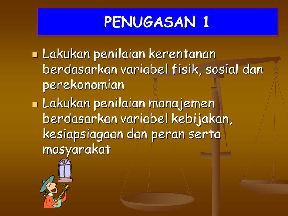 PENUGASAN 1 Lakukan penilaian kerentanan berdasarkan variabel fisik, sosial dan perekonomian.