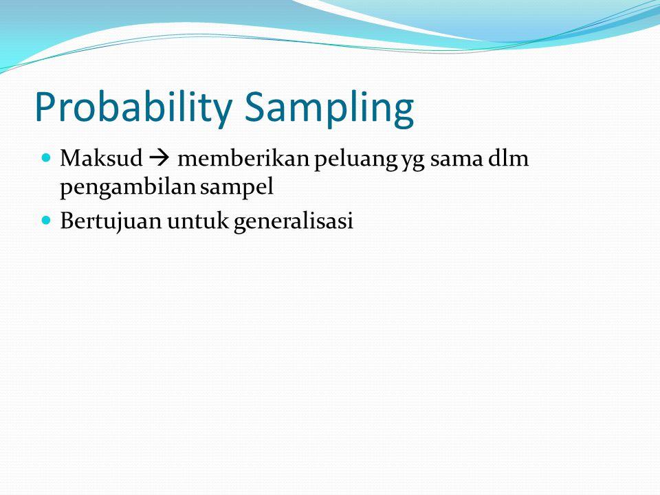 Probability Sampling Maksud  memberikan peluang yg sama dlm pengambilan sampel.