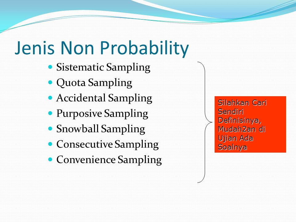 Jenis Non Probability Sistematic Sampling Quota Sampling