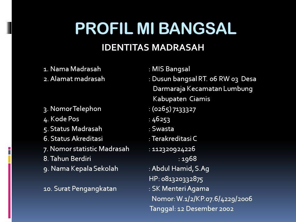 PROFIL MI BANGSAL IDENTITAS MADRASAH 1. Nama Madrasah : MIS Bangsal