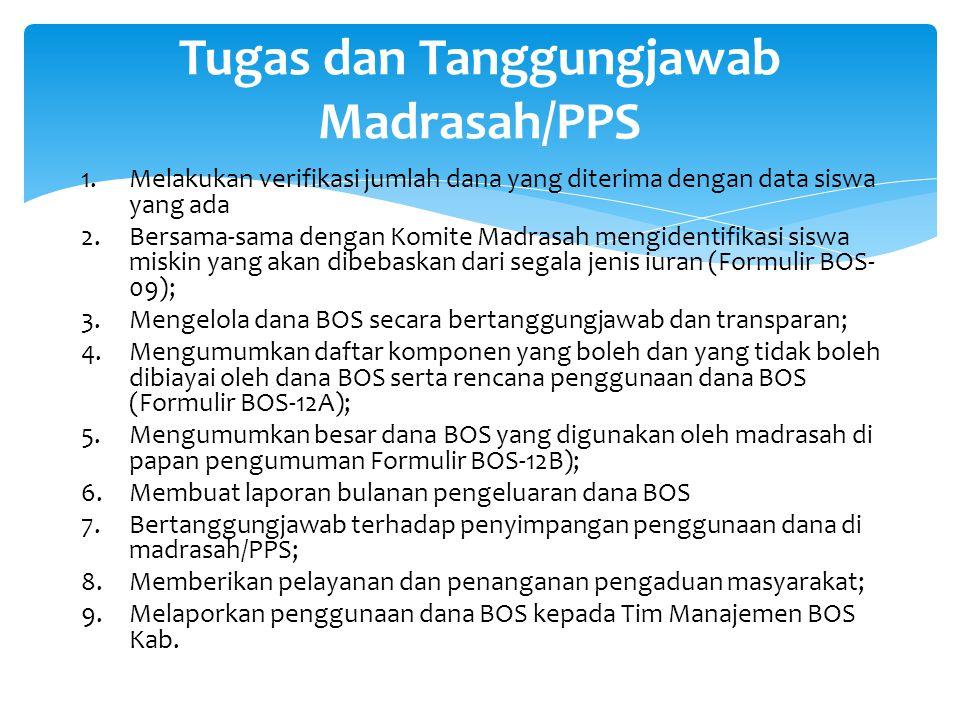 Tugas dan Tanggungjawab Madrasah/PPS