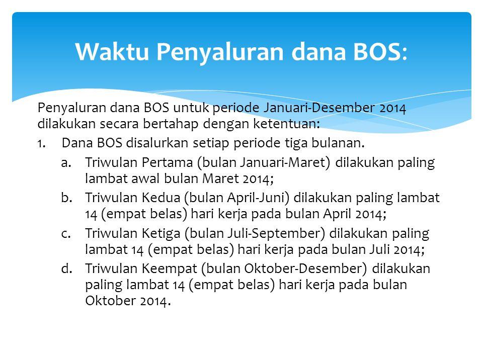 Waktu Penyaluran dana BOS: