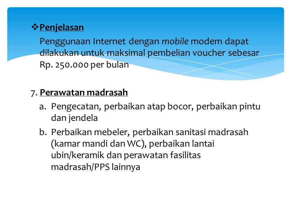 Penjelasan Penggunaan Internet dengan mobile modem dapat dilakukan untuk maksimal pembelian voucher sebesar Rp. 250.000 per bulan.