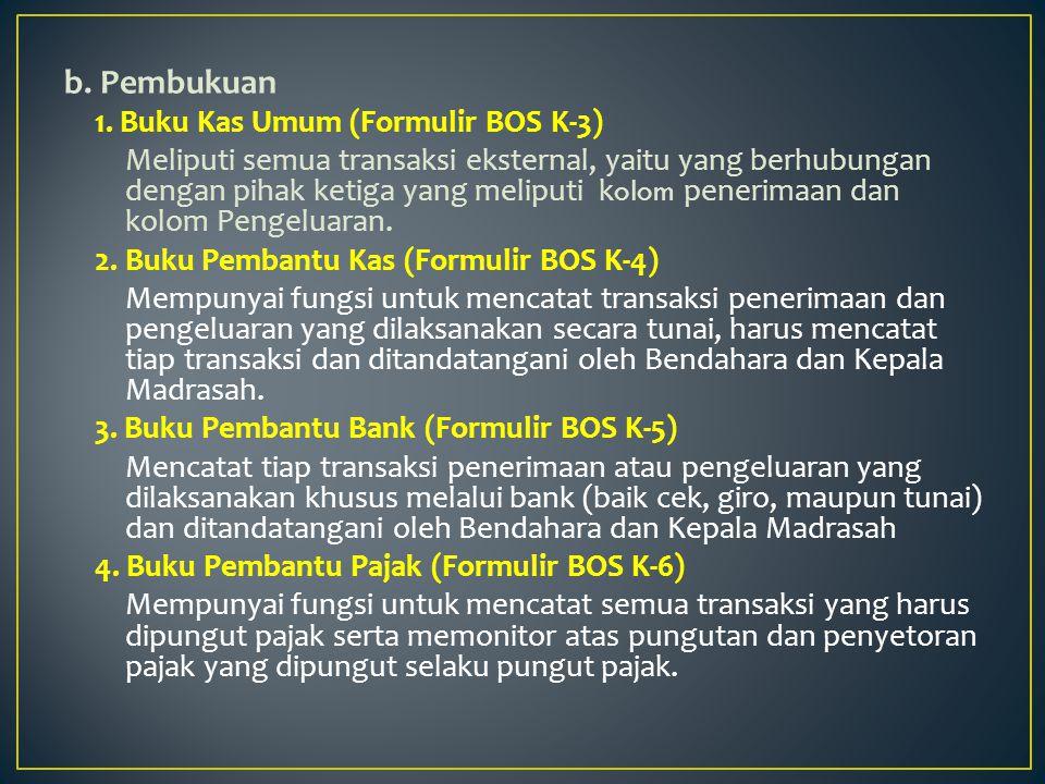 b. Pembukuan 1. Buku Kas Umum (Formulir BOS K-3)