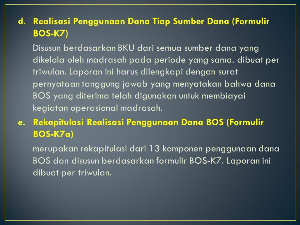 Realisasi Penggunaan Dana Tiap Sumber Dana (Formulir BOS-K7)