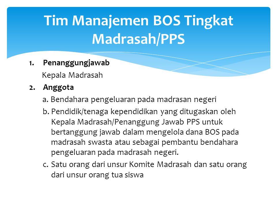 Tim Manajemen BOS Tingkat Madrasah/PPS