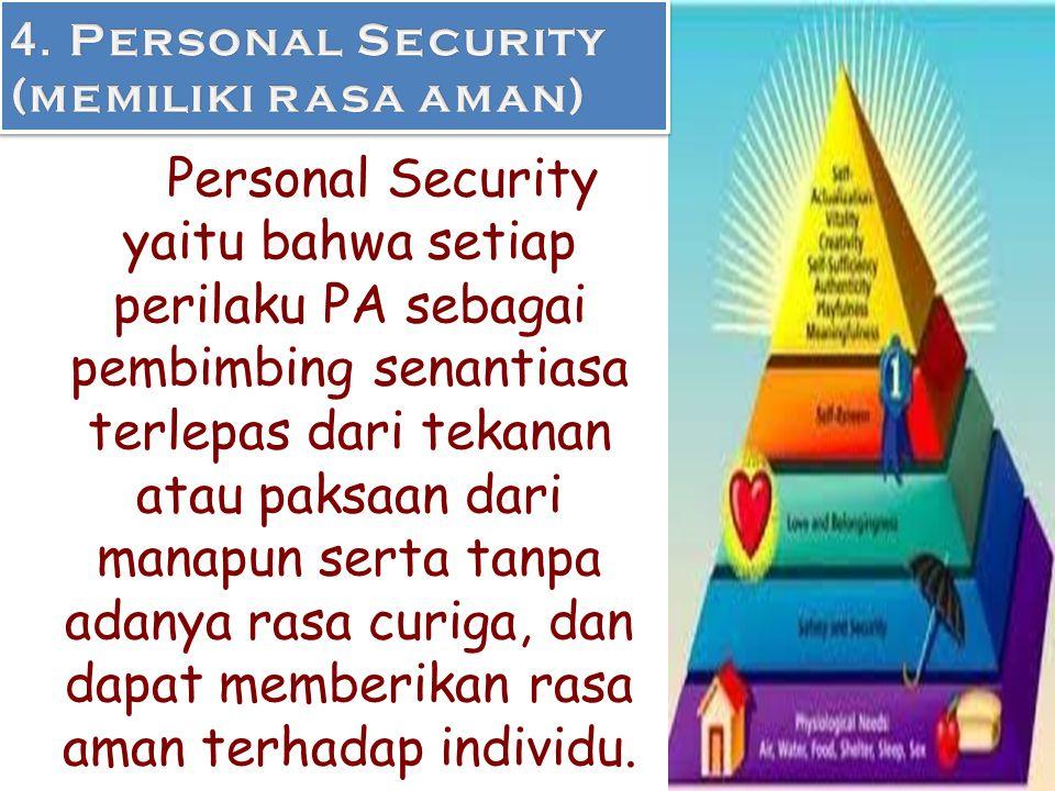 4. Personal Security (memiliki rasa aman)