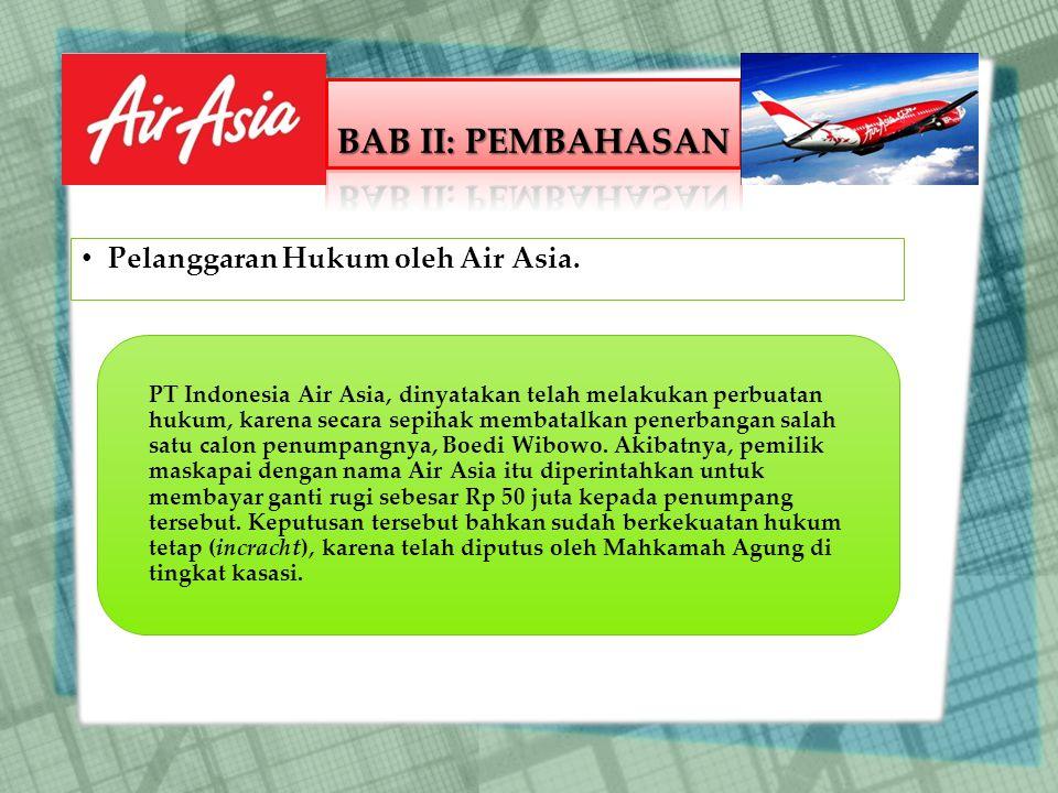 BAB II: PEMBAHASAN Pelanggaran Hukum oleh Air Asia.