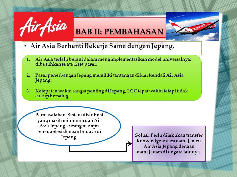 BAB II: PEMBAHASAN Air Asia Berhenti Bekerja Sama dengan Jepang.