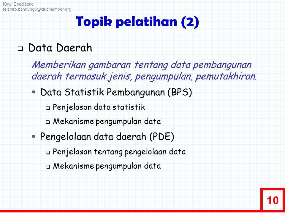 Topik pelatihan (2) Data Daerah