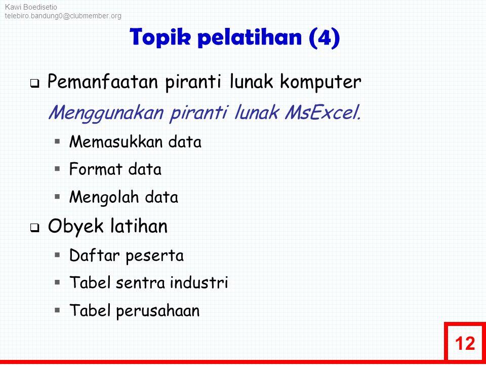 Topik pelatihan (4) Pemanfaatan piranti lunak komputer