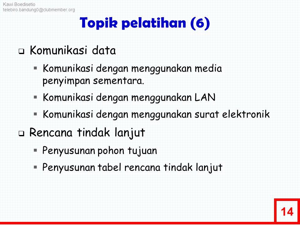 Topik pelatihan (6) Komunikasi data Rencana tindak lanjut