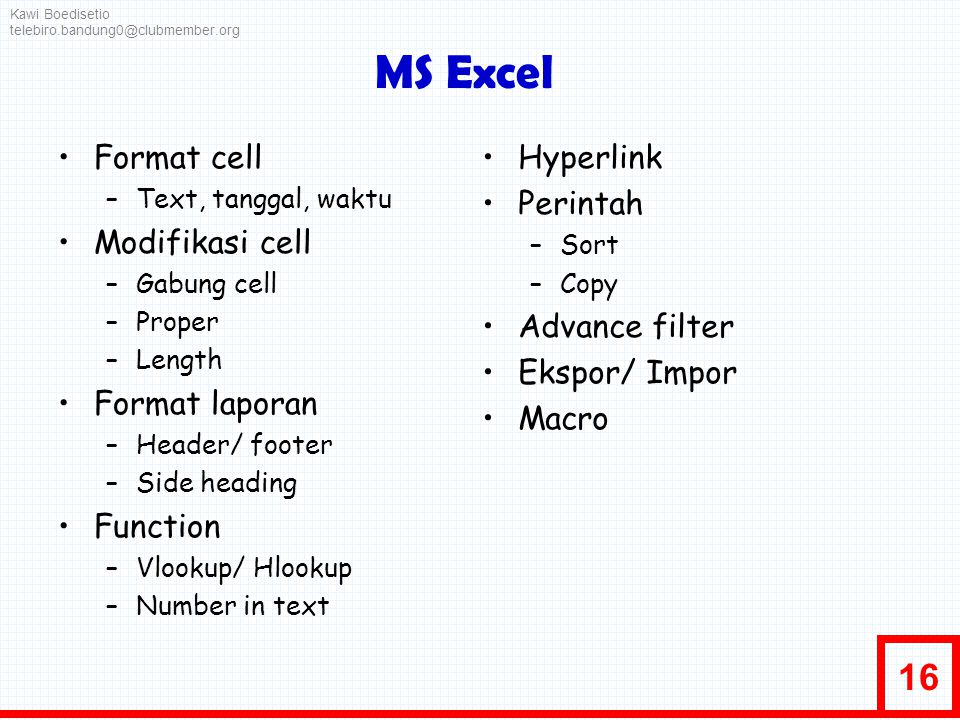 MS Excel Format cell Modifikasi cell Format laporan Function Hyperlink