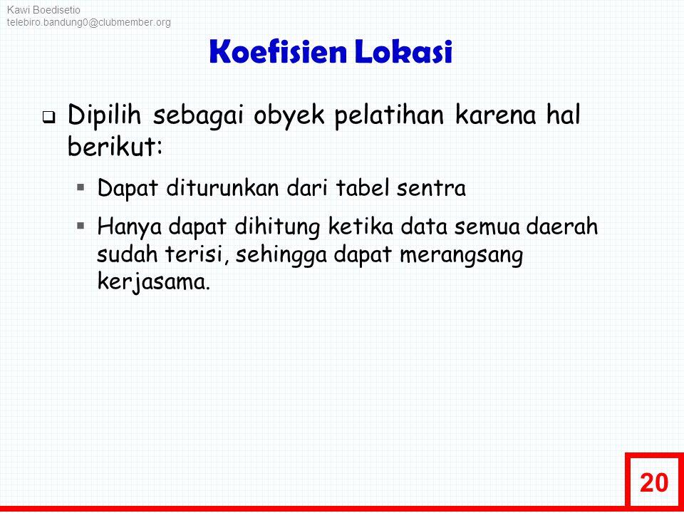 Koefisien Lokasi Dipilih sebagai obyek pelatihan karena hal berikut: