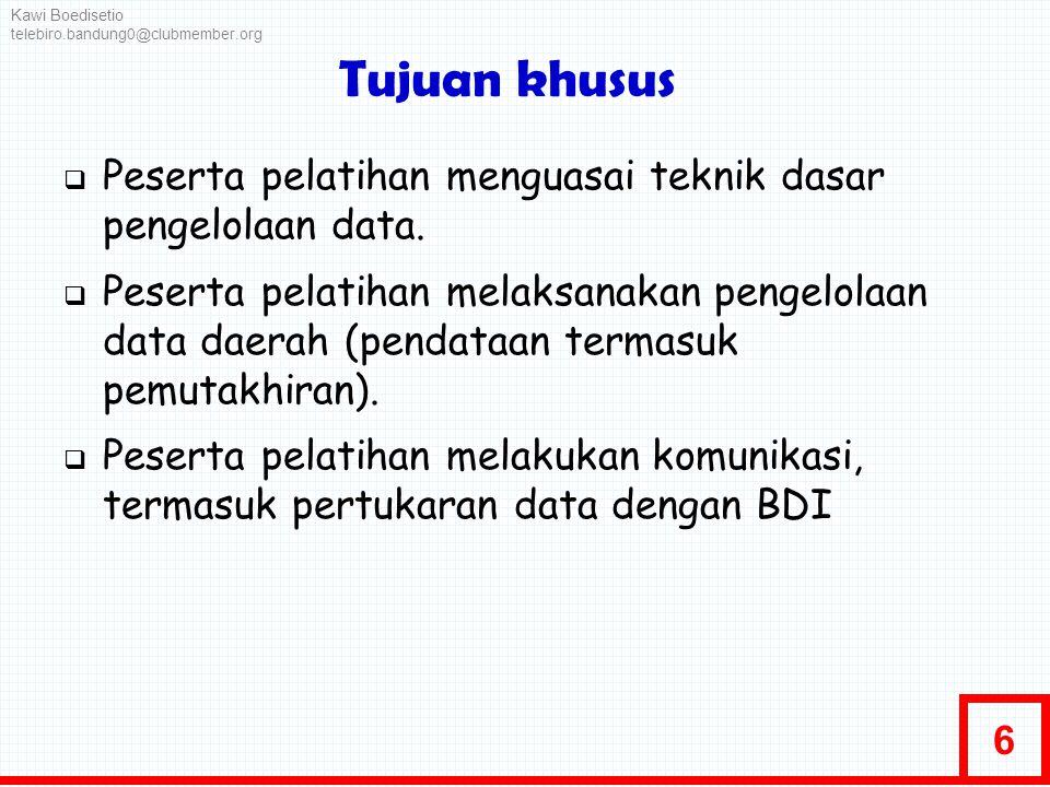 Kawi Boedisetio telebiro.bandung0@clubmember.org. Tujuan khusus. Peserta pelatihan menguasai teknik dasar pengelolaan data.