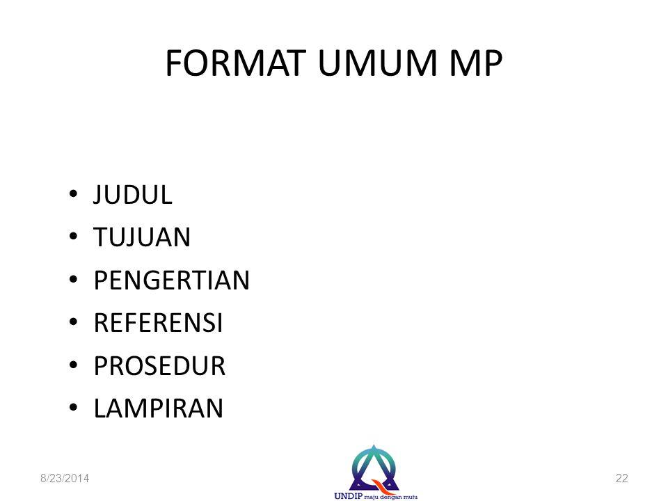 FORMAT UMUM MP JUDUL TUJUAN PENGERTIAN REFERENSI PROSEDUR LAMPIRAN