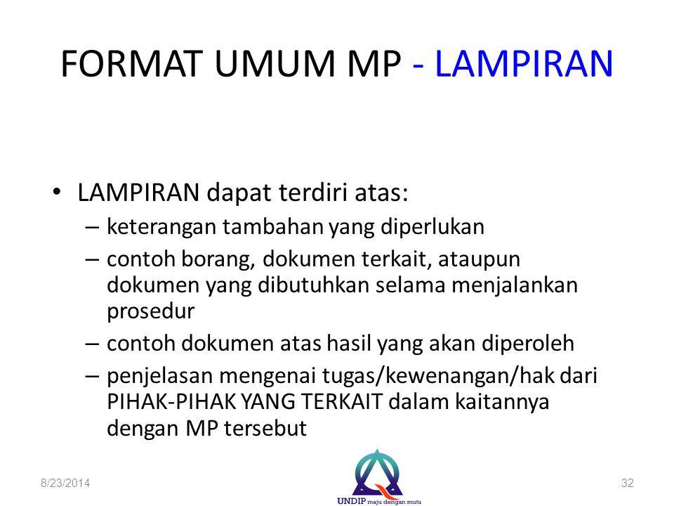 FORMAT UMUM MP - LAMPIRAN