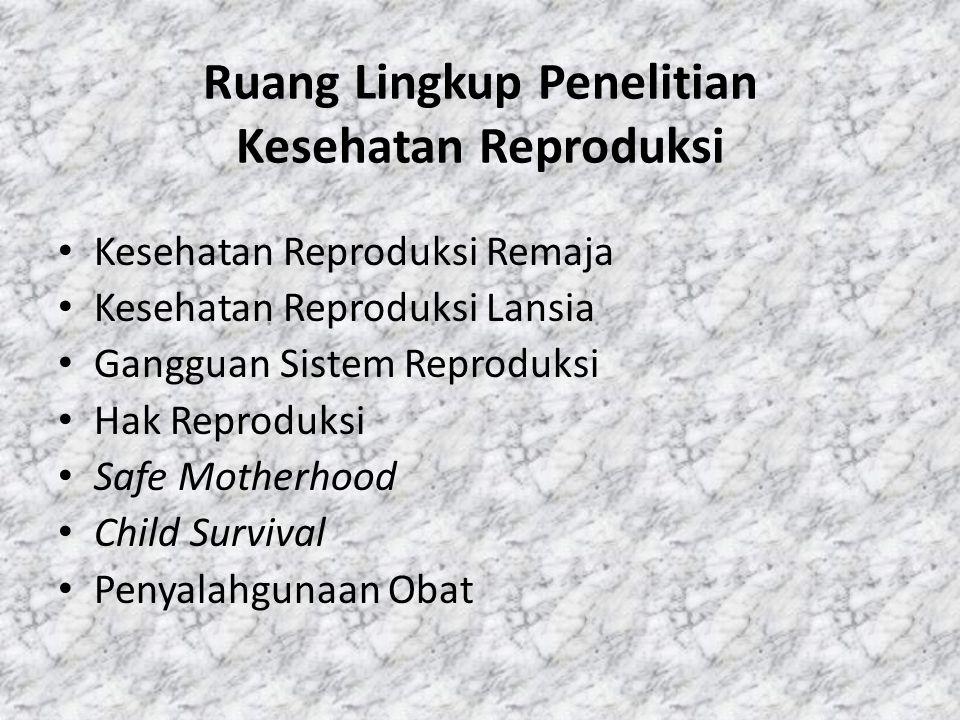 Ruang Lingkup Penelitian Kesehatan Reproduksi
