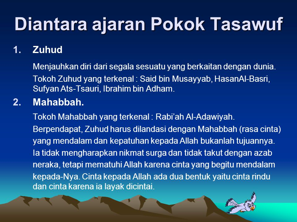 Diantara ajaran Pokok Tasawuf