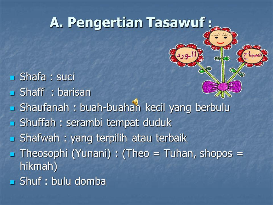 A. Pengertian Tasawuf : Shafa : suci Shaff : barisan
