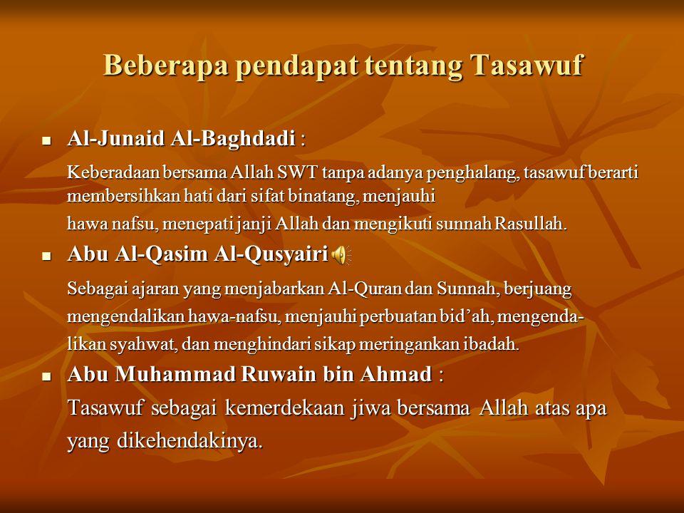 Beberapa pendapat tentang Tasawuf