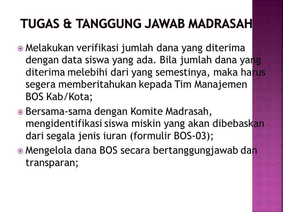 TUGAS & TANGGUNG JAWAB MADRASAH