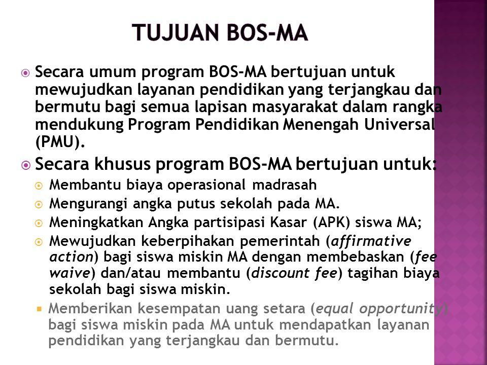 Tujuan BOS-MA Secara khusus program BOS-MA bertujuan untuk: