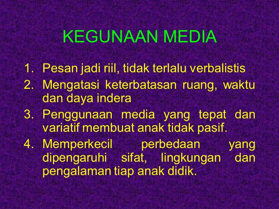 KEGUNAAN MEDIA Pesan jadi riil, tidak terlalu verbalistis