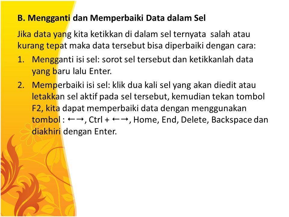 B. Mengganti dan Memperbaiki Data dalam Sel