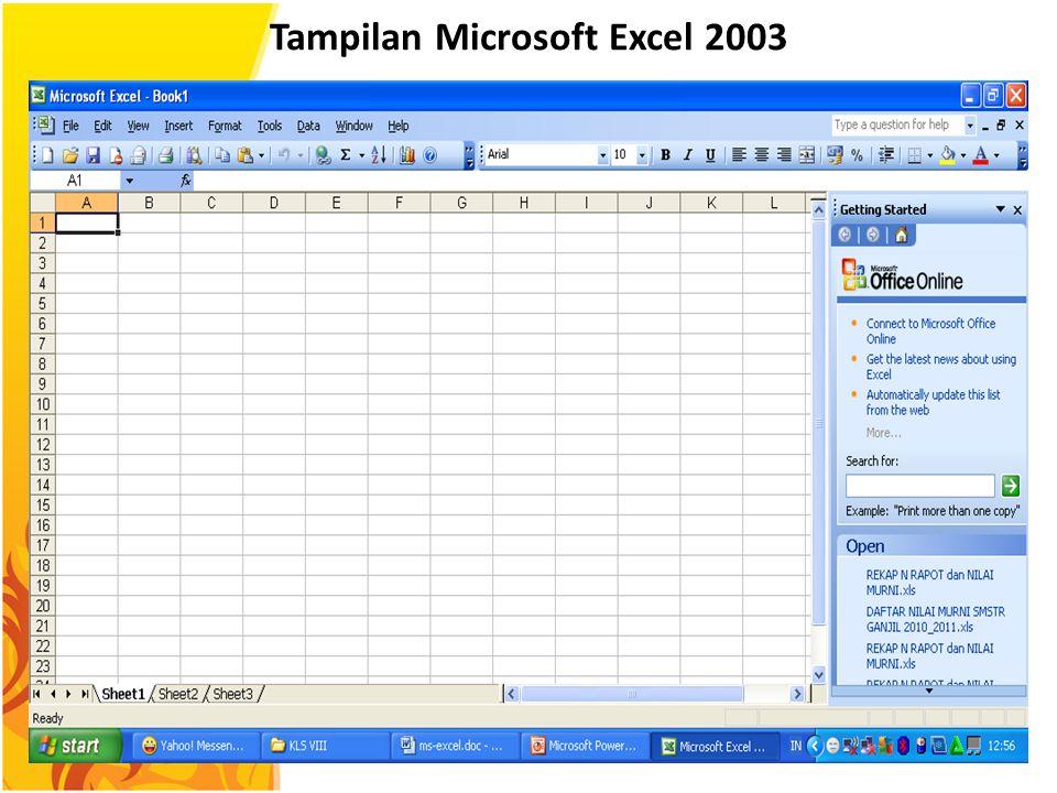 Tampilan Microsoft Excel 2003