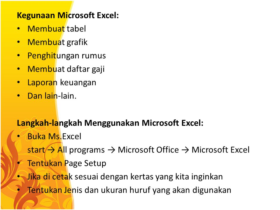 Kegunaan Microsoft Excel: