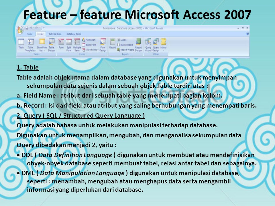 Feature – feature Microsoft Access 2007