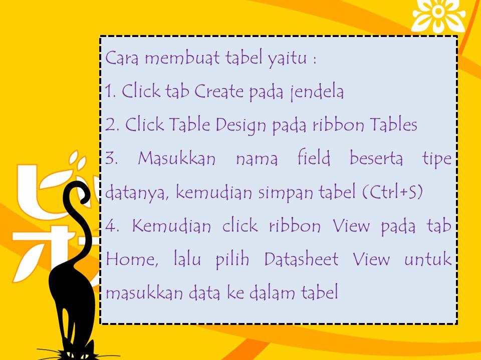 Cara membuat tabel yaitu : 1. Click tab Create pada jendela 2