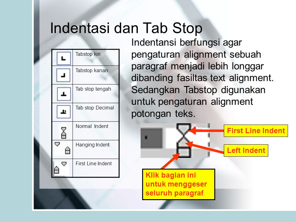 Indentasi dan Tab Stop