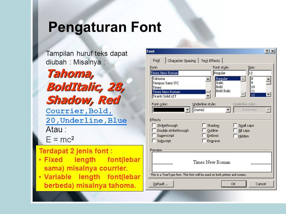 Pengaturan Font Tahoma, BoldItalic, 28, Shadow, Red